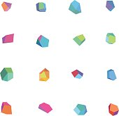 Various colorful polygonal abstract figures