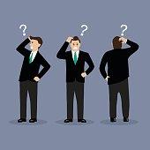 Various confused businessman