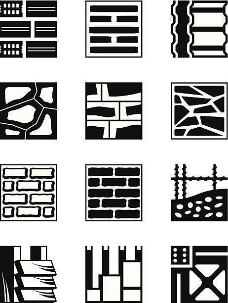verschiedene baumaterialien - granitplatten stock-grafiken, -clipart, -cartoons und -symbole