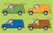 cartoon of contractor in different vehicles