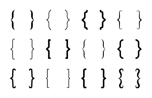 Various curly brackets flat icon set