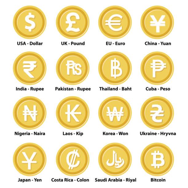 stockillustraties, clipart, cartoons en iconen met verschillende valuta pictogrammen - thaise munt