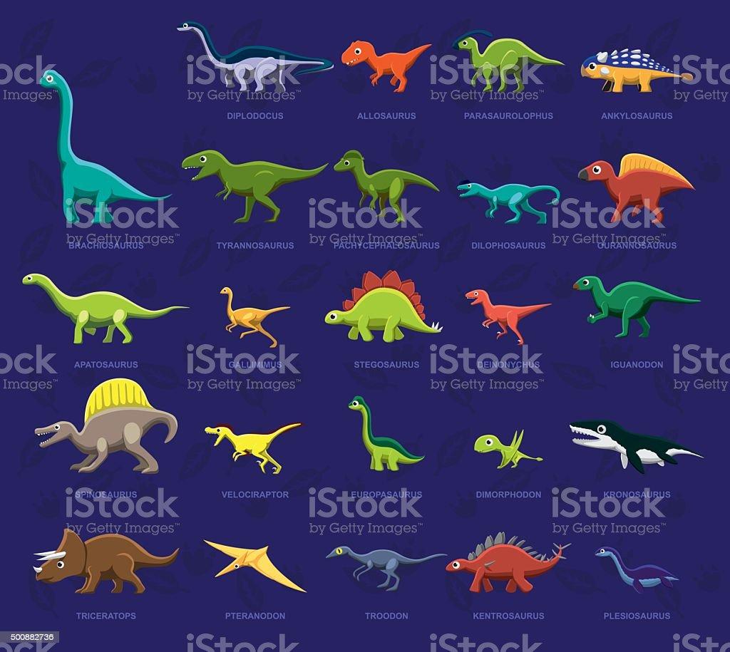 Vários vista lateral de dinossauro dos desenhos animados vetor ilustração - ilustração de arte em vetor
