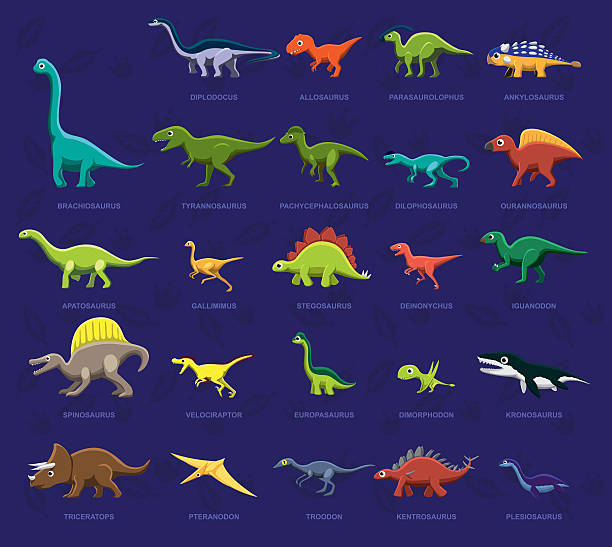 ilustrações, clipart, desenhos animados e ícones de vários vista lateral de dinossauro dos desenhos animados vetor ilustração - dinossauro
