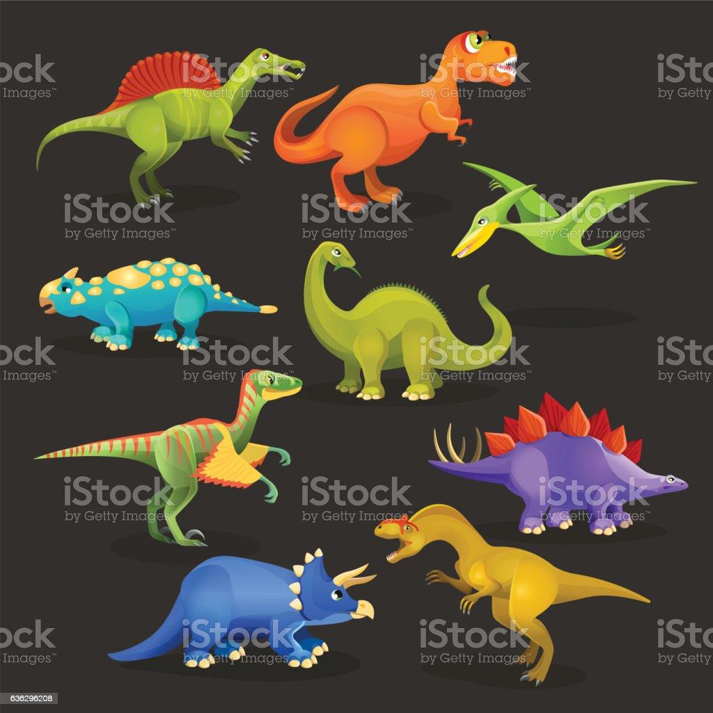 Various dinosaurs set of Jurassic period. Funny cartoon creatures vector art illustration