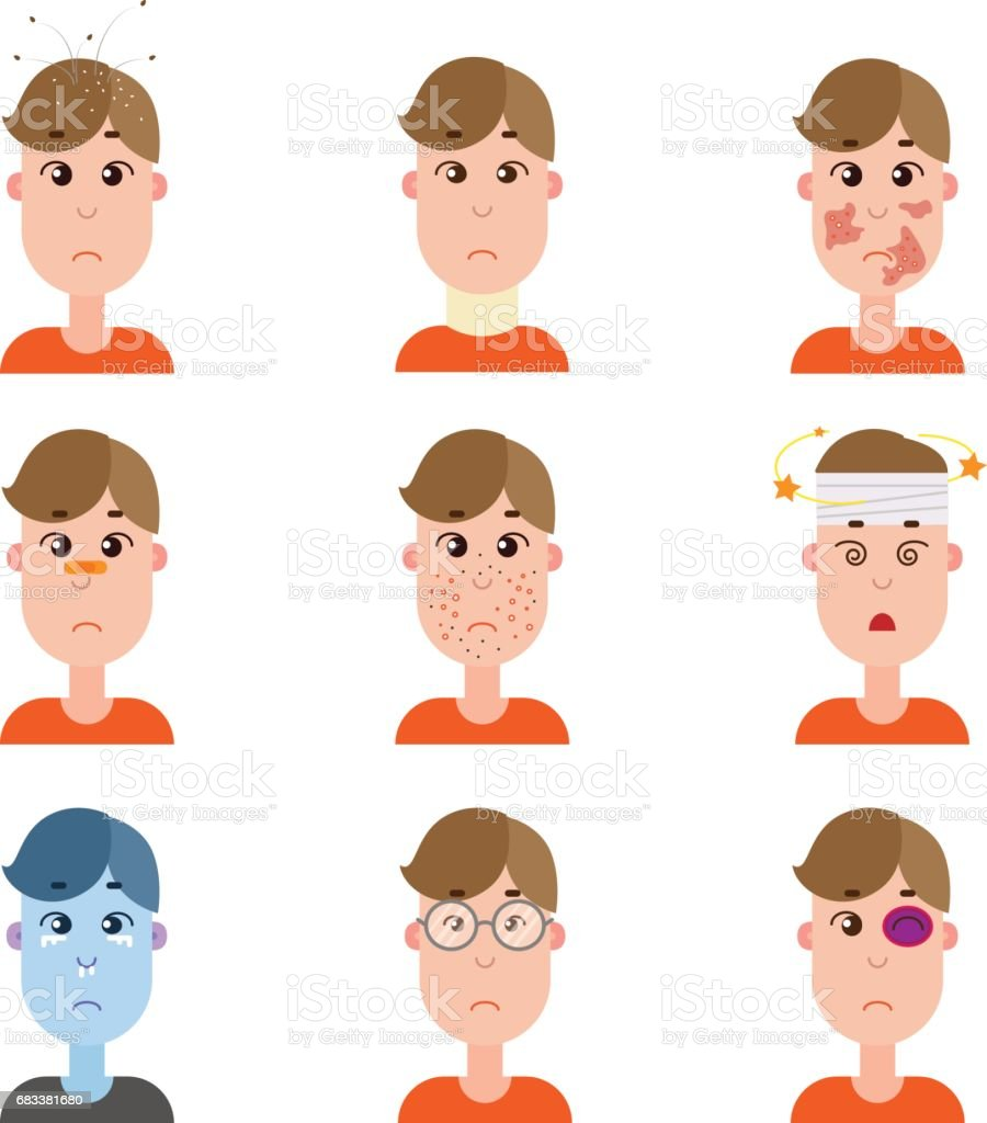 Various disease avatars. vector art illustration