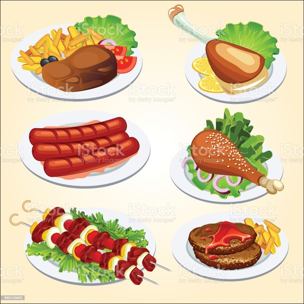 various dishes from meat vector art illustration