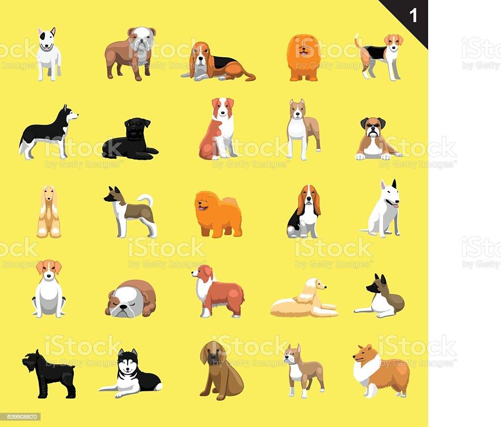 Various Dog Breeds Vector Illustration Set 1 – artystyczna grafika wektorowa