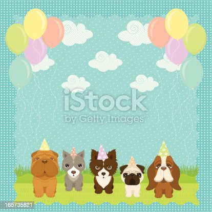 A Puppies Birthday Party- 25x25cm 300dpi jpg incl.