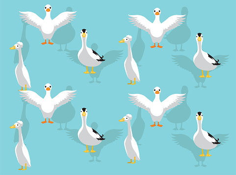 Various Domestic Ducks Pekin Call Crested Vector Seamless Background Wallpaper-01