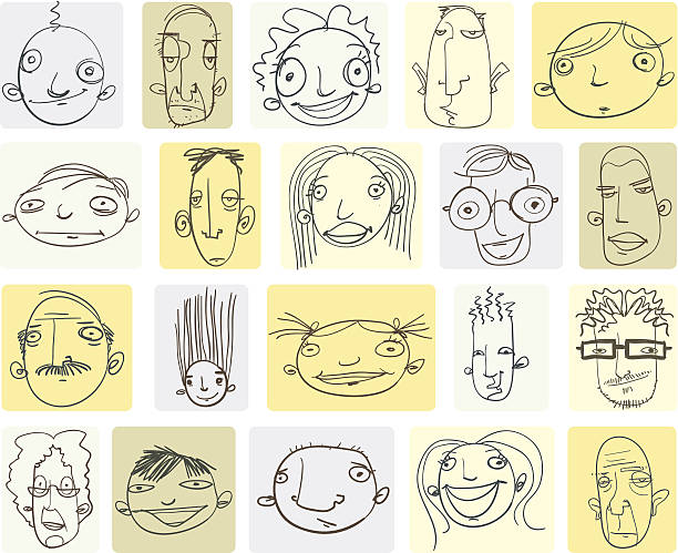 Various Doodle Drawings of People's Heads vector art illustration
