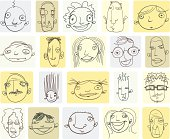 Various Doodle Drawings of People's Heads