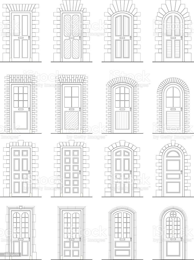 Various Doors & Surrounds vector art illustration