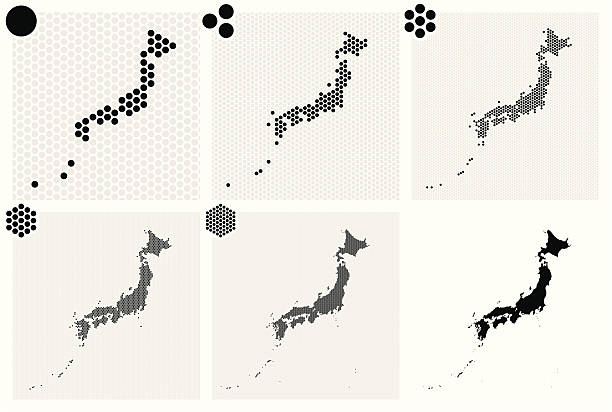 stockillustraties, clipart, cartoons en iconen met various dotted maps of japan in different resolutions - united stats halftone dots