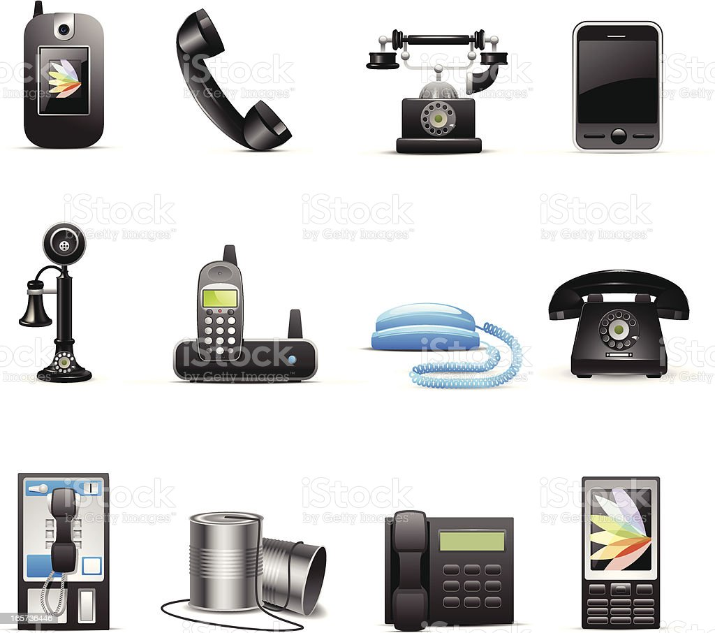 Various drawn phone style icons vector art illustration