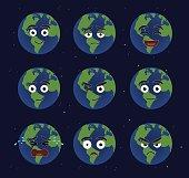 Various Earth Cartoon Emoticons