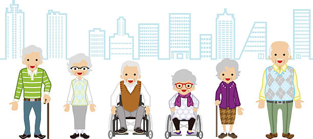 various elderly people - cityscape background - old man clipart stock illustrations, clip art, cartoons, & icons