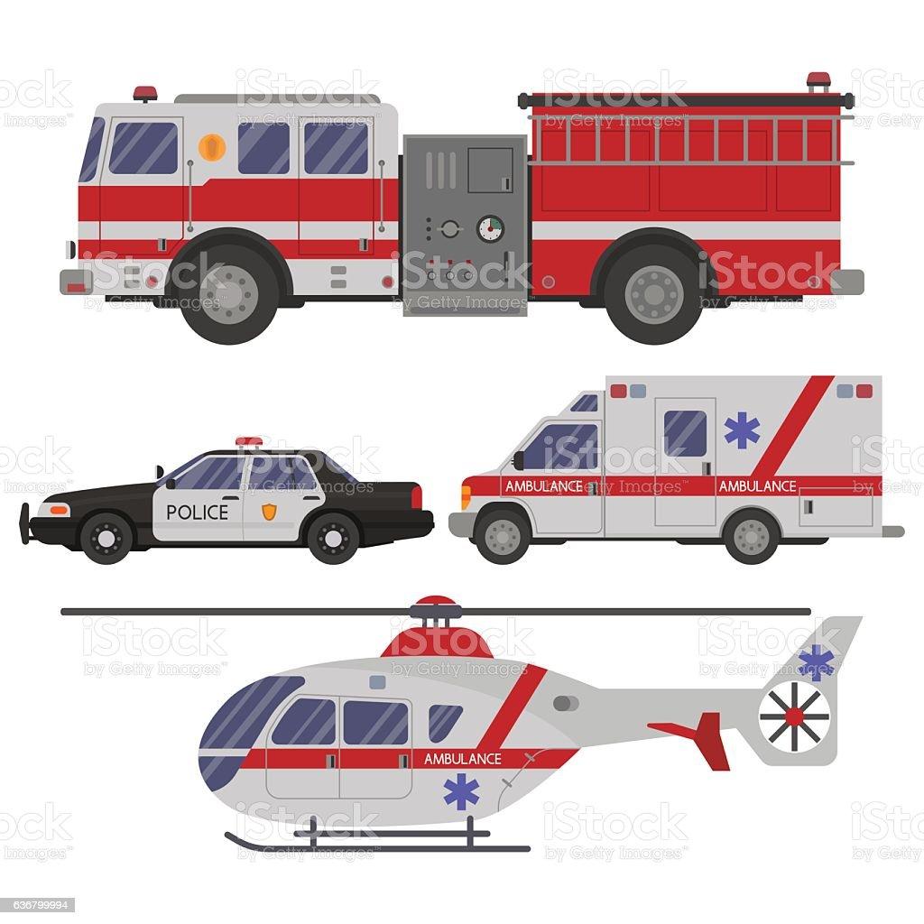 various emergency vehicles vector art illustration