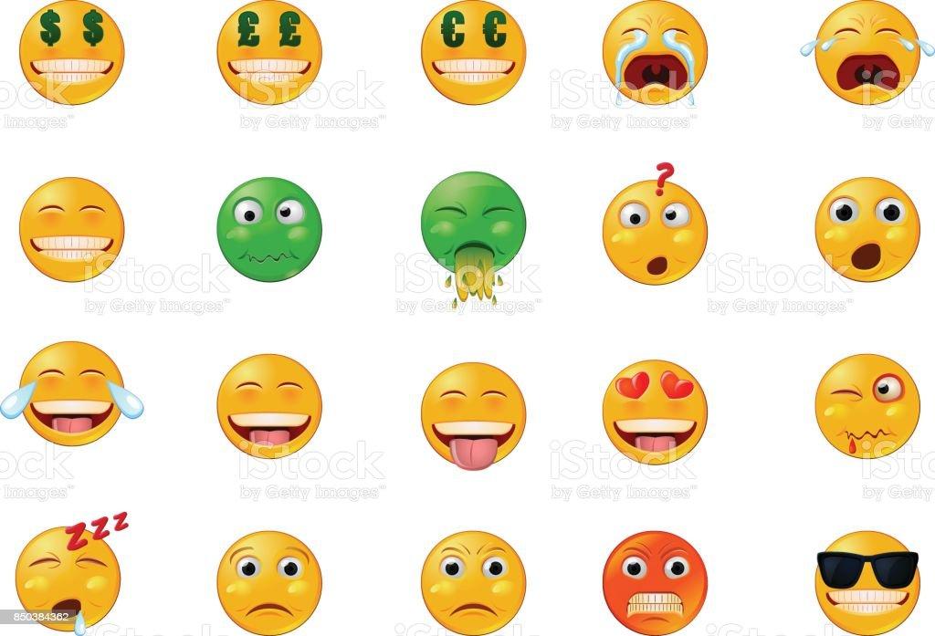 Vários emoticons ou emojis vetor ícones - ilustração de arte em vetor