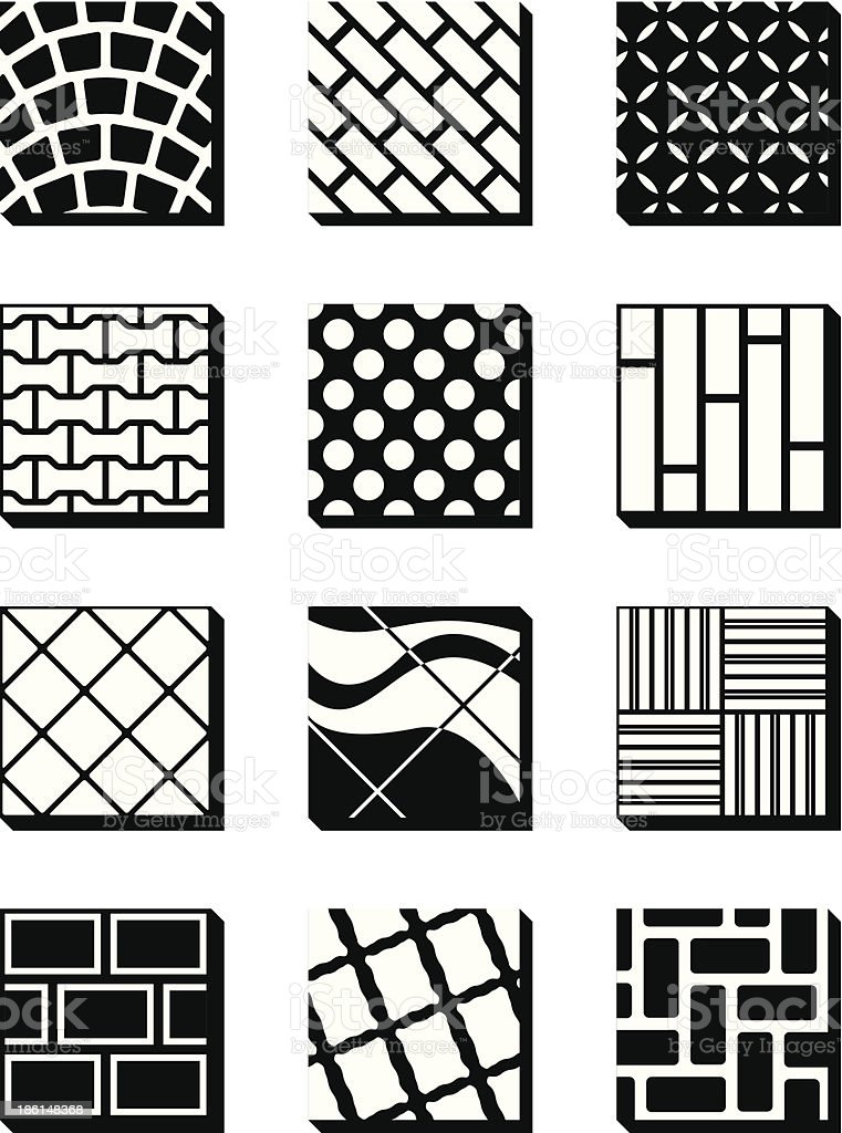 Various external building surfaces royalty-free stock vector art