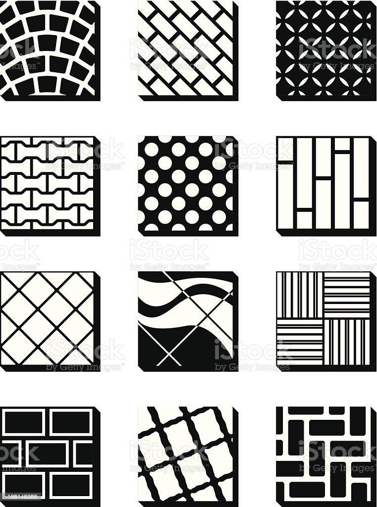 Various external building surfaces vector art illustration