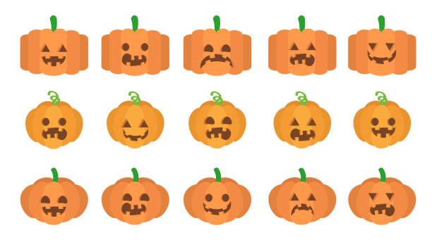 Various facial expressions of Halloween pumpkin vector art illustration