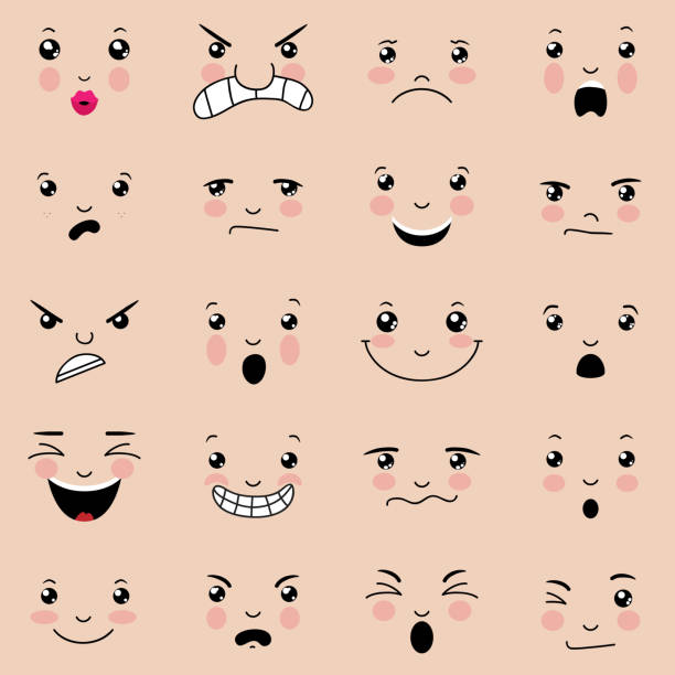 various facial expressions with pink cheeks  - toothy smile stock illustrations