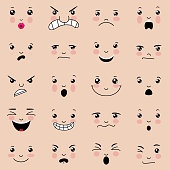 Various facial expressions with pink cheeks