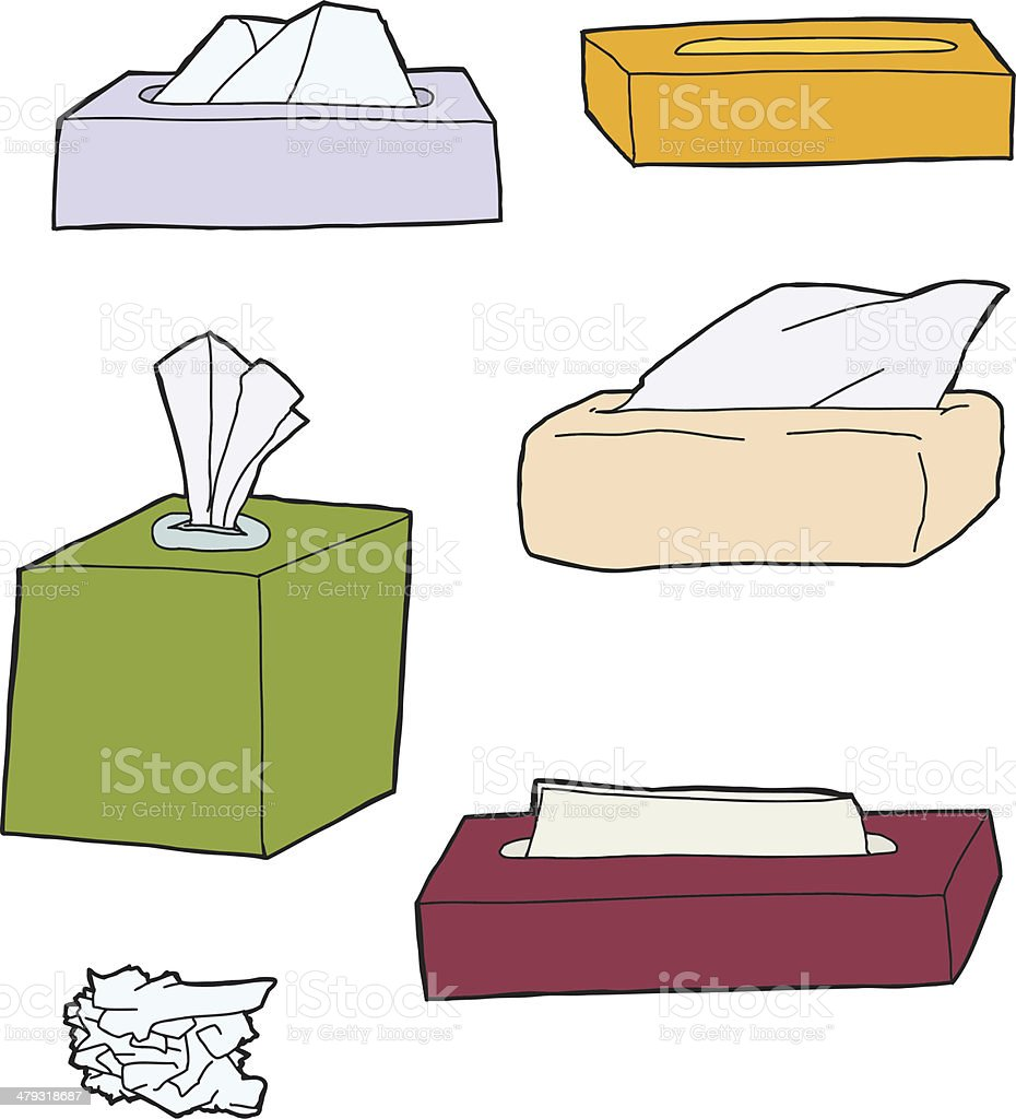 Various Facial Tissue Objects vector art illustration