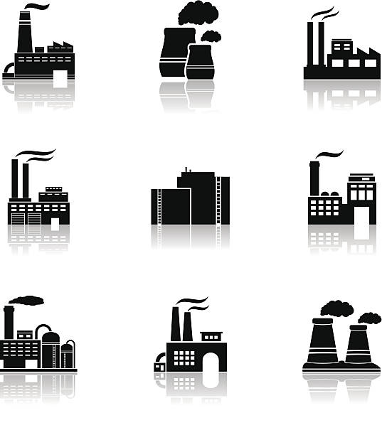 Various factory icons Factory black icons with reflection. Vector illustration. power station stock illustrations