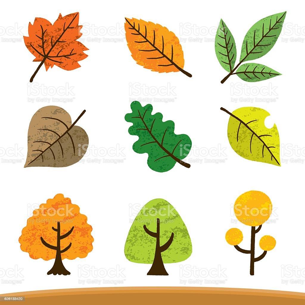 Various fallen leaves vector art illustration