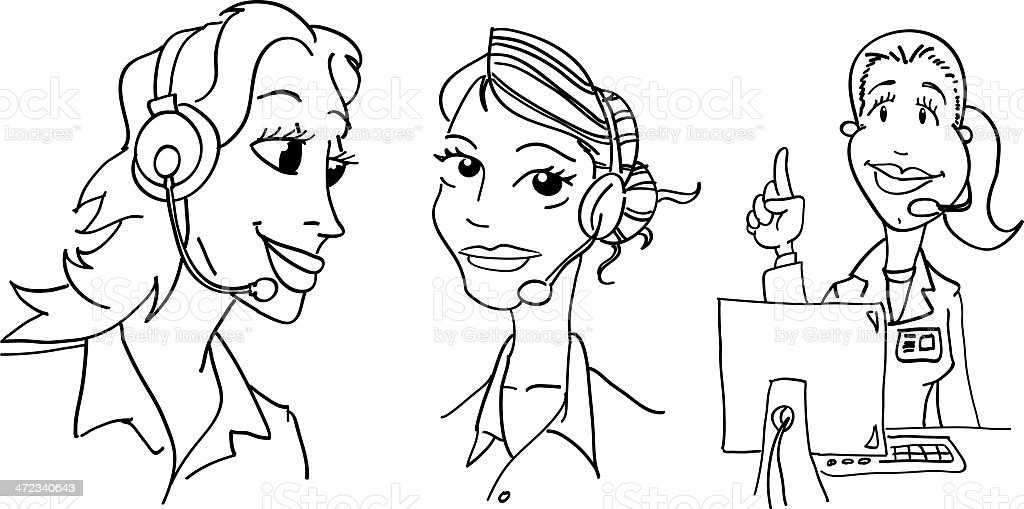 various Female Receptionist royalty-free stock vector art