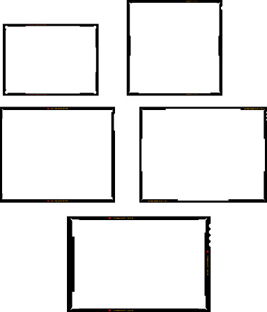 various film sheet negative formats, set of empty picture frames, vintage photographs, vector