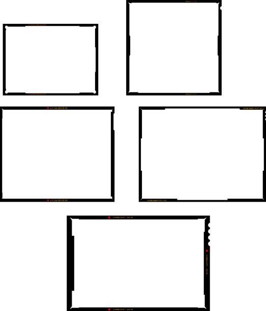 ilustraciones, imágenes clip art, dibujos animados e iconos de stock de varios formatos negativos de hojas de película, conjunto de marcos de imágenes vacíos, fotografías vintage, vectores - bordes de marcos de fotografías