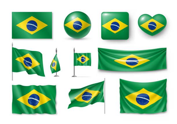bildbanksillustrationer, clip art samt tecknat material och ikoner med olika flaggor i brasilien land - brasilien flagga