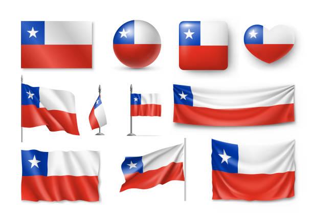 ilustraciones, imágenes clip art, dibujos animados e iconos de stock de varias banderas del país chileno - bandera de chile