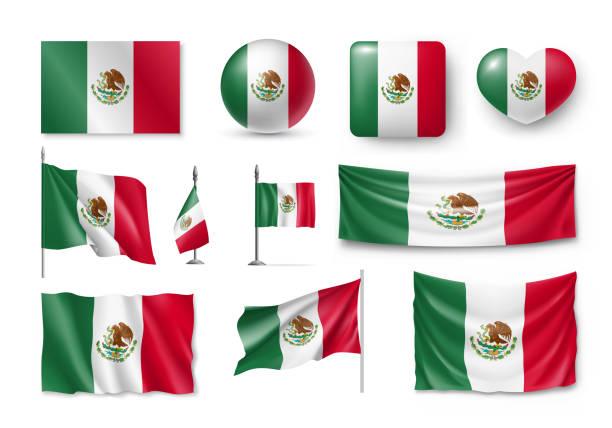 ilustraciones, imágenes clip art, dibujos animados e iconos de stock de varias banderas del país de méxico - bandera mexicana