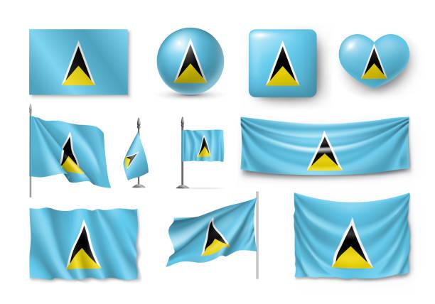 bildbanksillustrationer, clip art samt tecknat material och ikoner med olika flaggor av saint lucia karibien land - saint lucia
