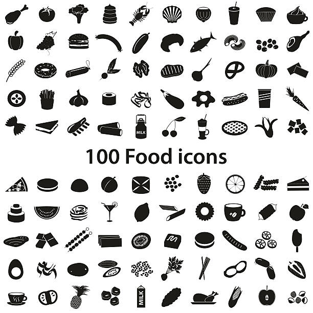 100 various food and drink black icons set eps10 vector art illustration