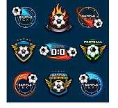 Various football logos and emblems. EPS 10.