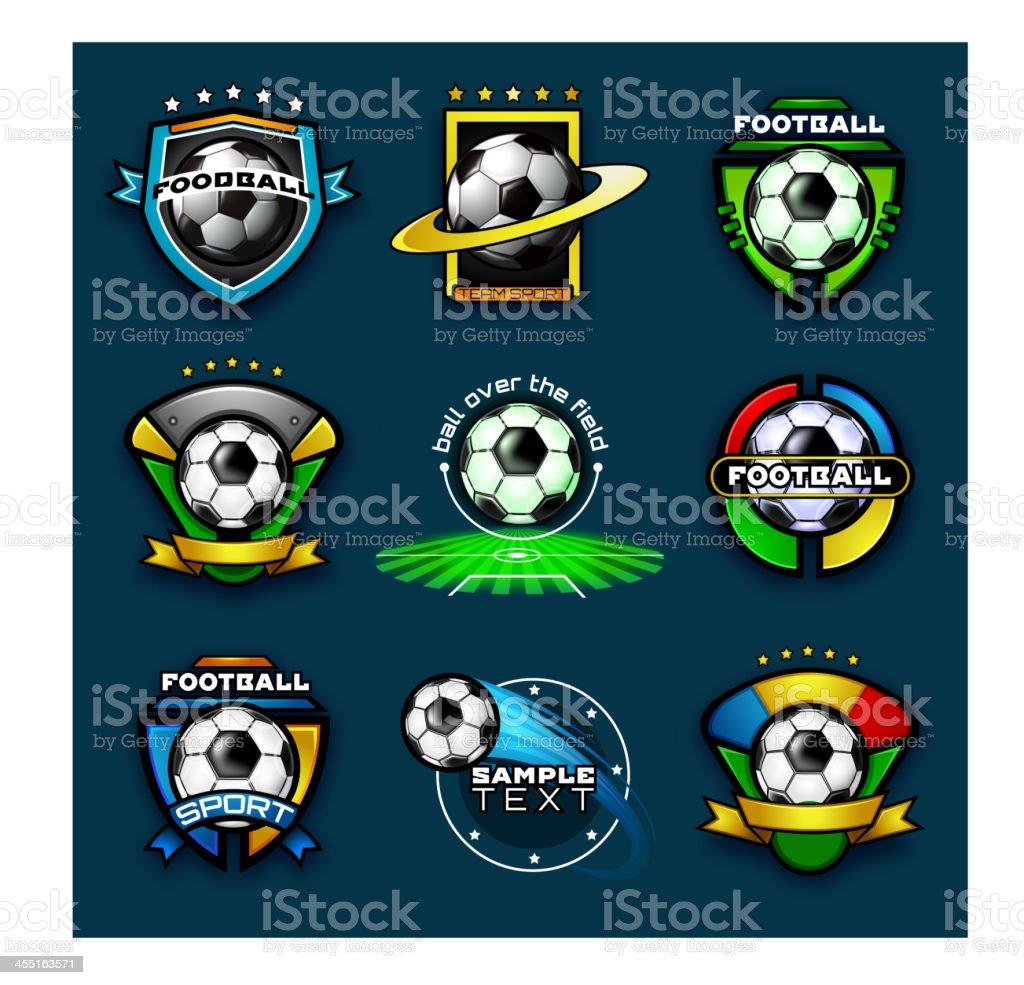 Various football emblems vector art illustration