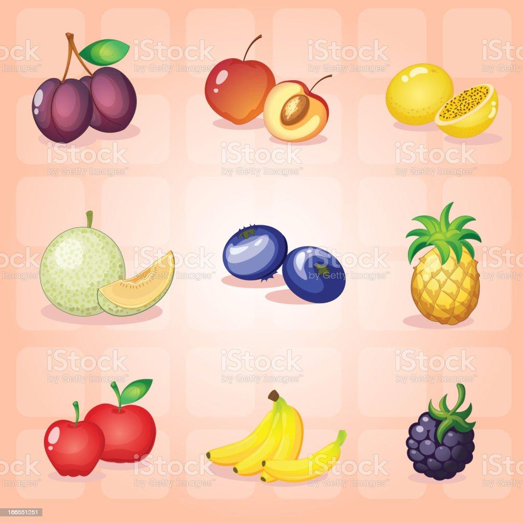 Various fruits royalty-free stock vector art