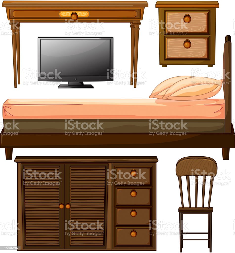 Various furnitures and lcd television royalty-free various furnitures and lcd television stock vector art & more images of arts culture and entertainment