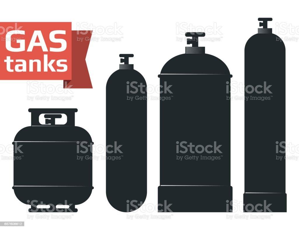 Various gas tanks sihlouette icons set. vector art illustration