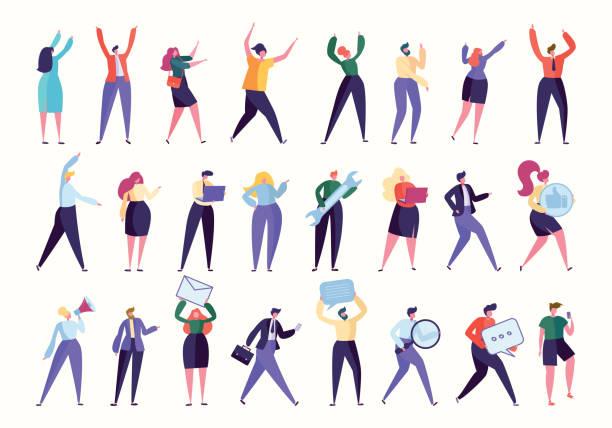 다양 한 제스쳐 직원 팀이 함께 모여 있습니다. 고립 된 비즈니스 작업. 관리자 도움말, hr 발견 새로운 노동자, 컴퓨터를 가진 사람, 기업 사업. 평면 만화 벡터 일러스트 컬렉션 - 단정한 사무복 stock illustrations