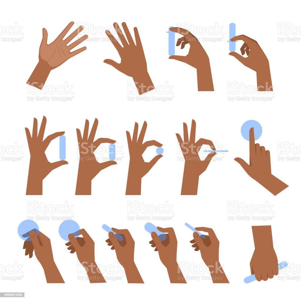 Various gestures of black human hands flat vector illustration set. vector art illustration