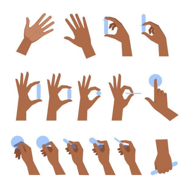 stockillustraties, clipart, cartoons en iconen met verschillende gebaren van zwarte mensenhanden platte vector illustratie set. - hand
