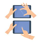 Various gestures of female hands with tablet screen.