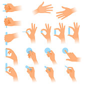 The gestures of human hands with objects. Flat illustration set of various postures hands holding blanks in a different situations. Vector design elements isolated on white background.