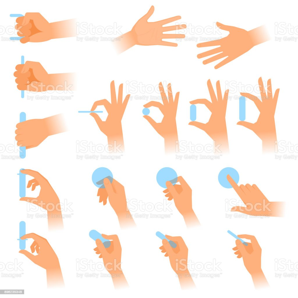 Various gestures of human hands with objects. Flat vector illustration. vector art illustration